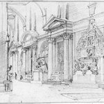 Study of Interior of Santa Croce, Florence, with Monument to Michelangelo