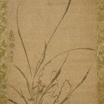 Kakemono: Orchids, Bamboo, and Thorns - Left panel