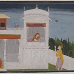 The Brahmin Sudama and Rukmini in a Palace, Page from the Sudama Episode of Bhagavata Purana Series