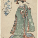 Kuninobu, A Woman Fastening Her Hair Ornament
