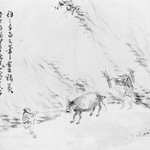 Herdboy and Woodcutter Driving an Ox, Album-Leaf Painting