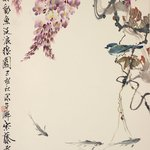 Blue Jay, Wisteria and River Trout
