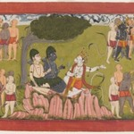 Rama and Lakshmana Confer with Sugriva about the Search for Sita, Page from a Dispersed Ramayana Series