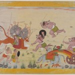 Mahasura Attacks the Devi, Folio from a Dispersed Devi Mahatmya Series