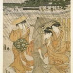 Three Women on the Bank of a River in a Shower