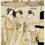 Three Women and a Boy Along the Sumida River