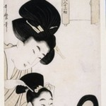 Two figures, from Twelve Physiognomies of Beautiful Women Compared with Views of Famous Places (Meisho Fukei Bijin Juni So)