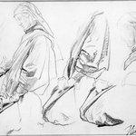 Studies of Kneeling Figure Turned Left for Church of Sainte-Clothilde (Étude de personnage agenouillé tourné vers la gauche)