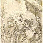"""Illustration for Ariostos """"Orlando Furioso"""": Orlando Leaves Paris in Disguise"""