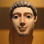 Life Size Painted Plaster Mask of a Man, from a Coffin or Cartonnage