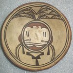 Yellow and Black Bowl with Kachina on the Interior