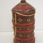 Pagoda Shaped Container with Lid and String