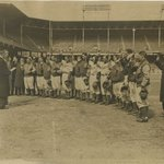[Untitled] (Brooklyn Dodgers Being Sworn in As Bondsmen at Ebbets Field, Brooklyn)