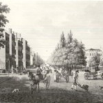 Broadway gatan och Radhuset i New York 1819 after Klinckowstrom