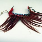 Red Headdress with Blue and White Beads