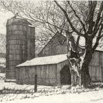 Silo and Barn in Winter