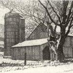 Silo and Barn in Winter