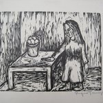 Woman Standing Beside Table