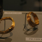Earrings, Pair of Corrugated Hoops