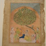 Laurak and Chanda Rest on Their Journey to a Trysting Place, Leaf from a Chandayana Manuscript