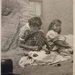 Two Hopi Indian Girls Selling Pottery, San Idelfonso Pueblo, NM