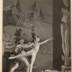 [Untitled]  (Male and Female Ballet Dancers in Front of Painting of Men on Bicycles)