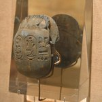 Heart Scarab with Scene of the Goddess Ma`at and a Phoenix