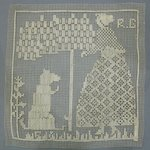 Cushion Top with Woman, Tree and Dog