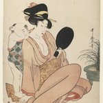 Mother and Child Gazing at a Hand Mirror, from Furyu Kodakara Awase