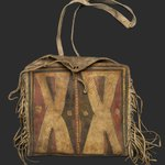 Womans Fringed Raw Hide Bag with Strap for Carrying