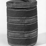 Twined Cylinder Basket with Lid with False Embroidery