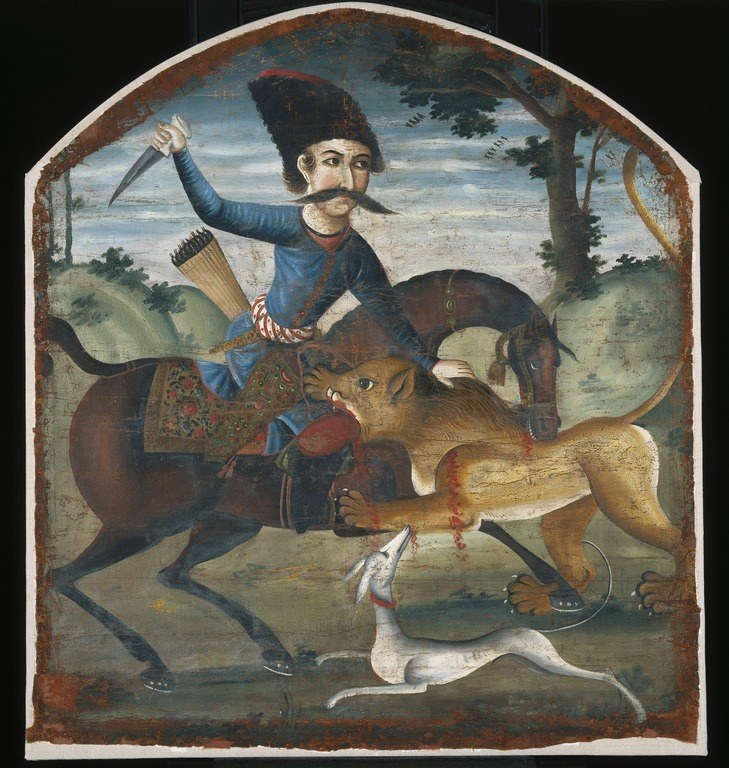 Brooklyn Museum: Hunter on Horseback Attacked by a Lion