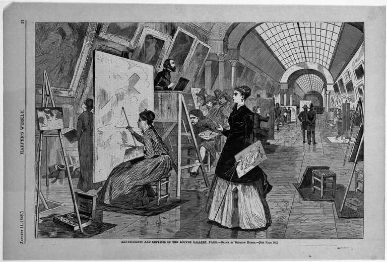 Brooklyn Museum: Art-Students and Copyists in the Louvre Gallery, Paris