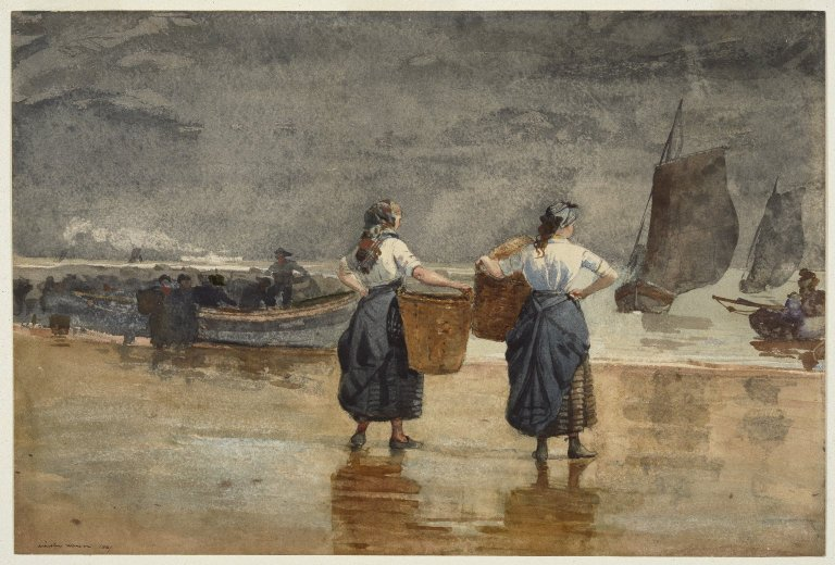 Brooklyn Museum: Fisher Girls on the Beach, Cullercoats