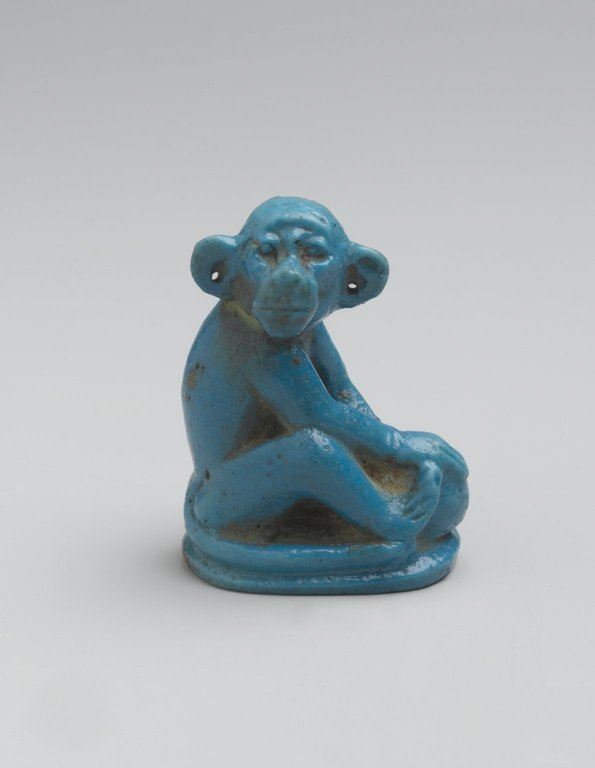 Brooklyn Museum: Figure of Monkey Seated on Ovoid Base