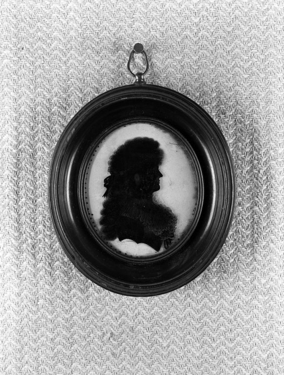 Brooklyn Museum: Oval Silhouette; Bust of Woman Facing Right