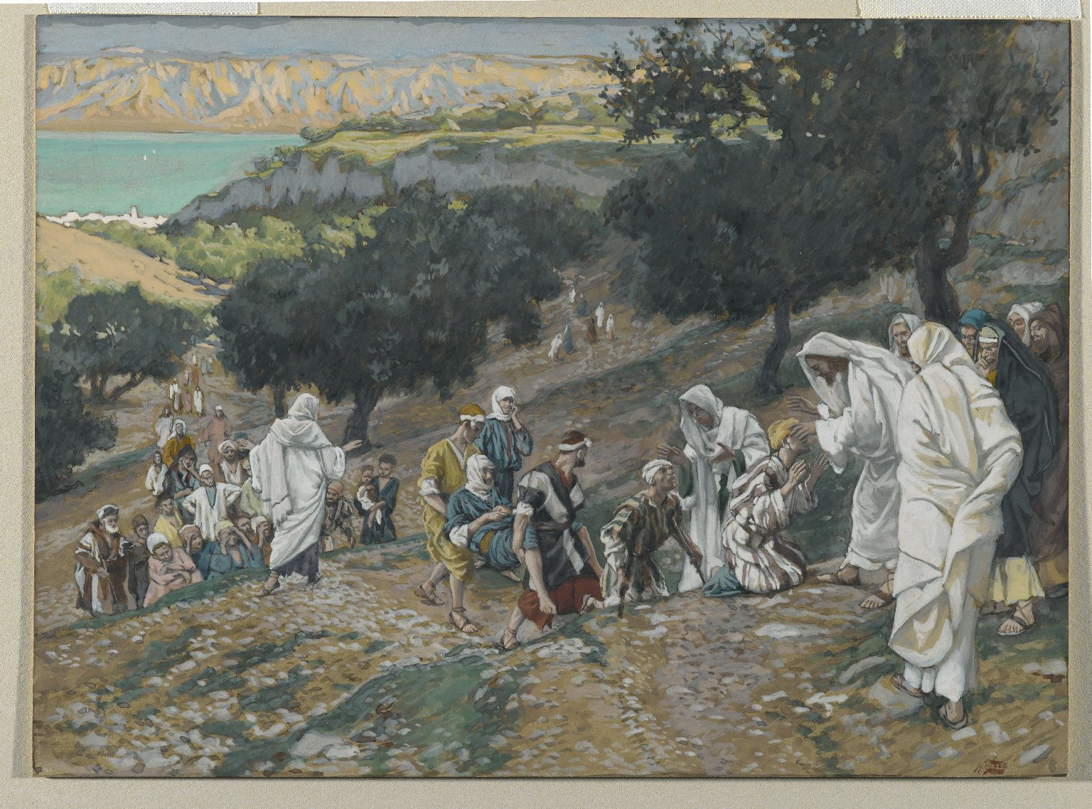 Brooklyn Museum: Jesus Heals the Blind and Lame on the Mountain (Sur la montagne Jésus guérit les aveugles et les boiteux)
