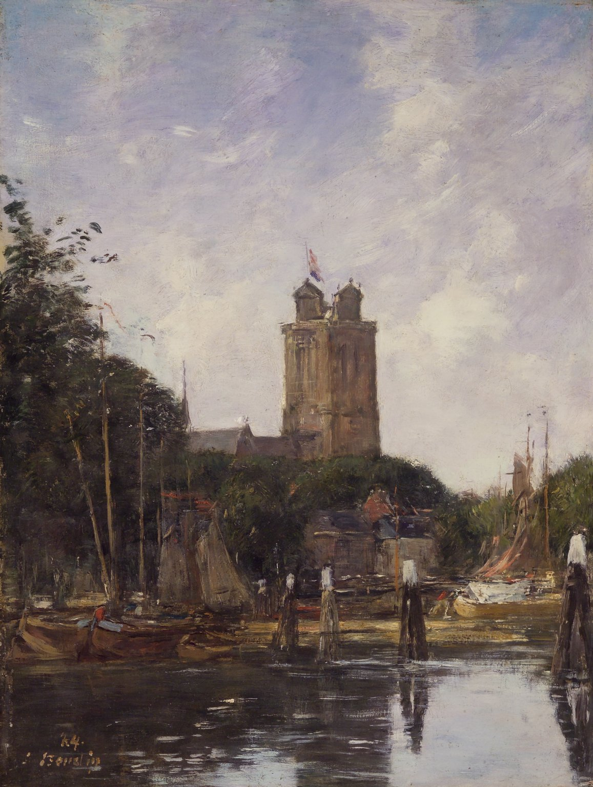 Brooklyn Museum: Dordrecht, the Grote Kerk from the Canal