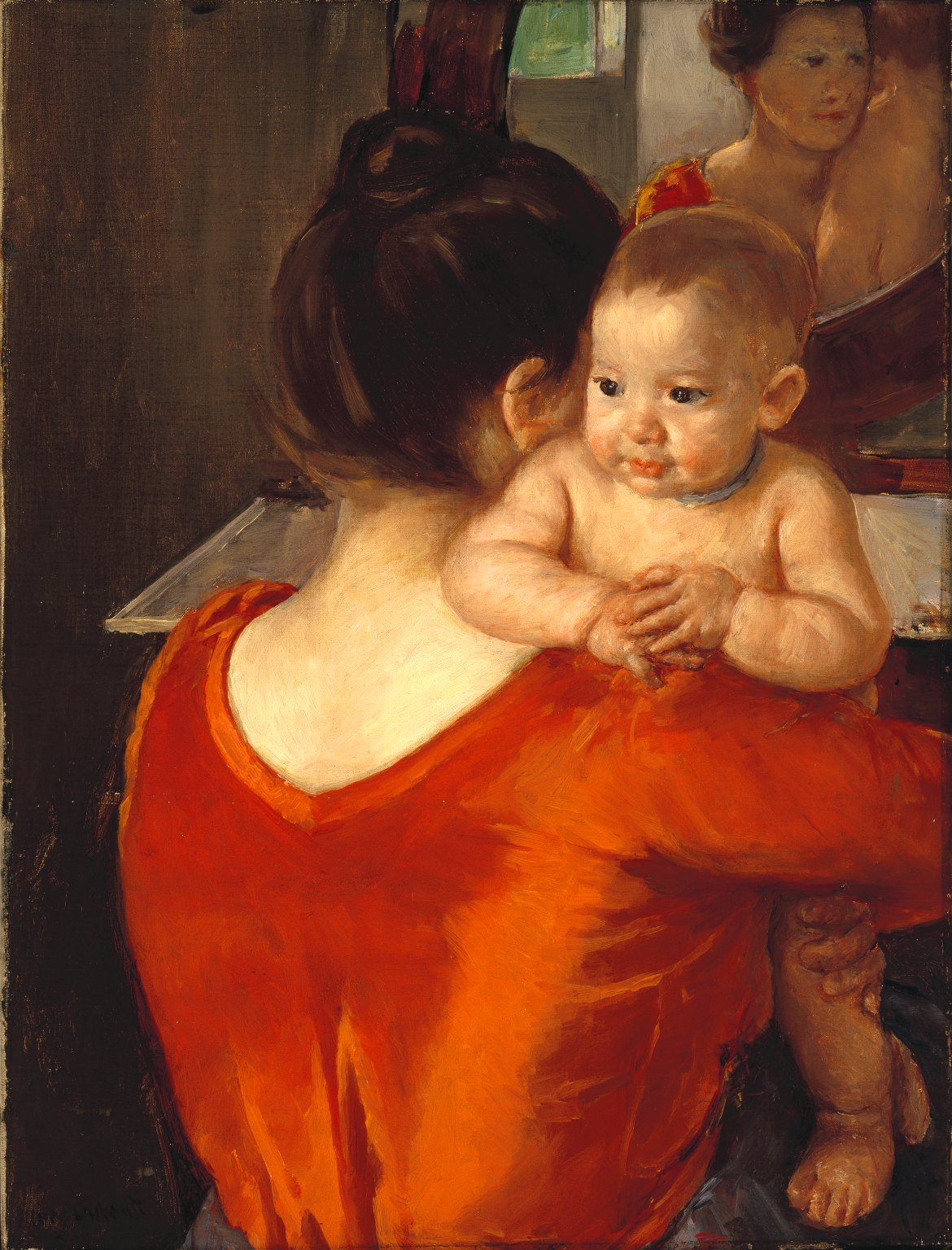 Brooklyn Museum: Woman in a Red Bodice and Her Child