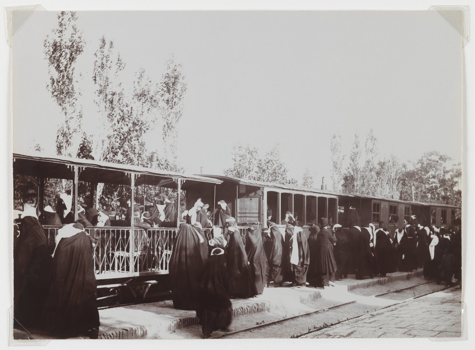 Brooklyn Museum: Veiled Women Boarding a Train, One of 274 Vintage Photographs