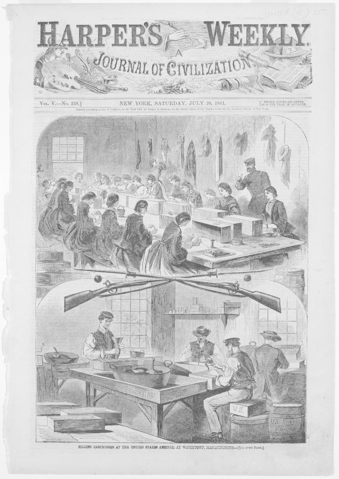 Brooklyn Museum: Filling Cartridges at the United States Arsenal, at Watertown, Massachusetts
