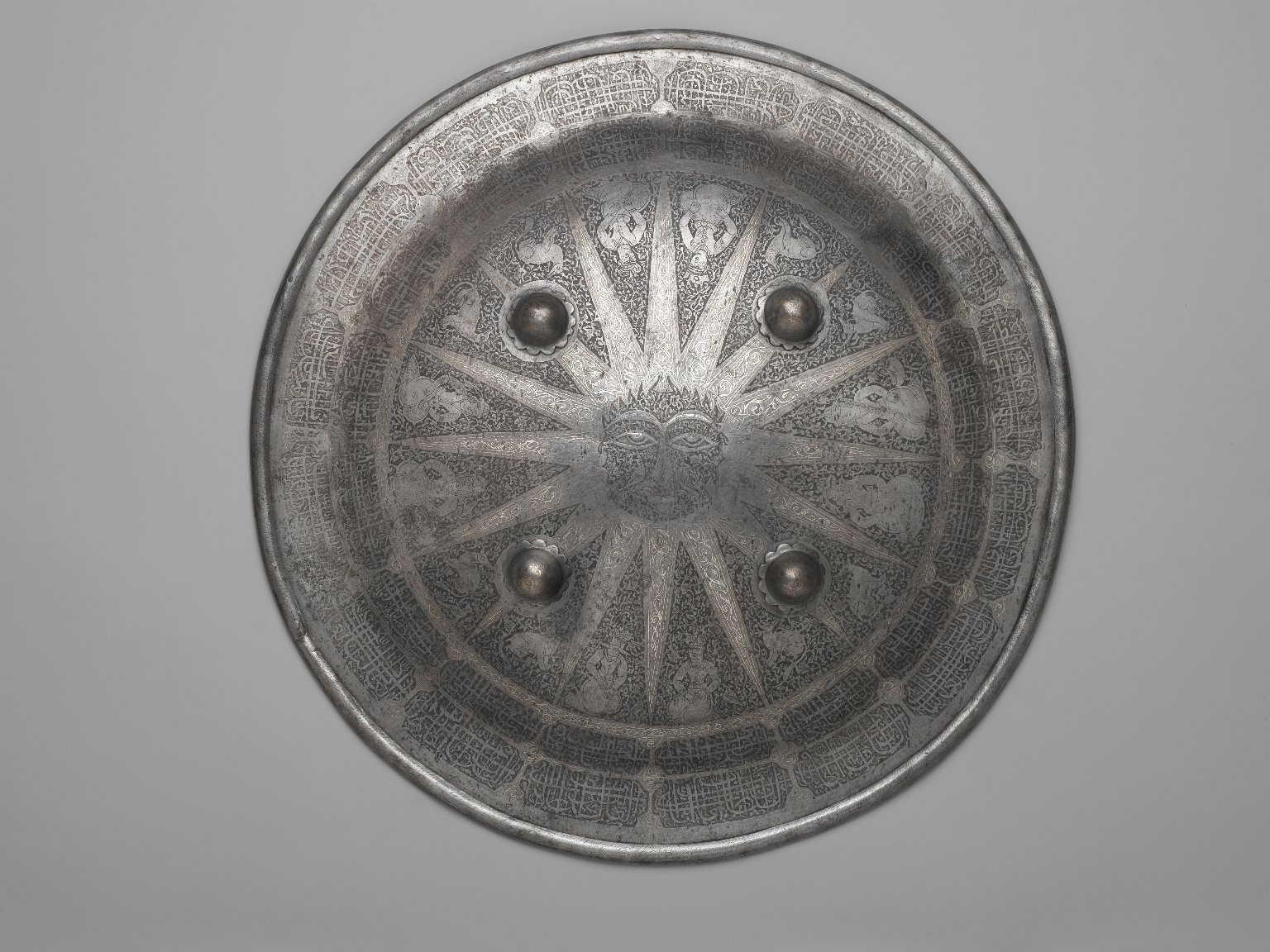 Brooklyn Museum: Shield with Arabic Inscription and Signs of the Zodiac