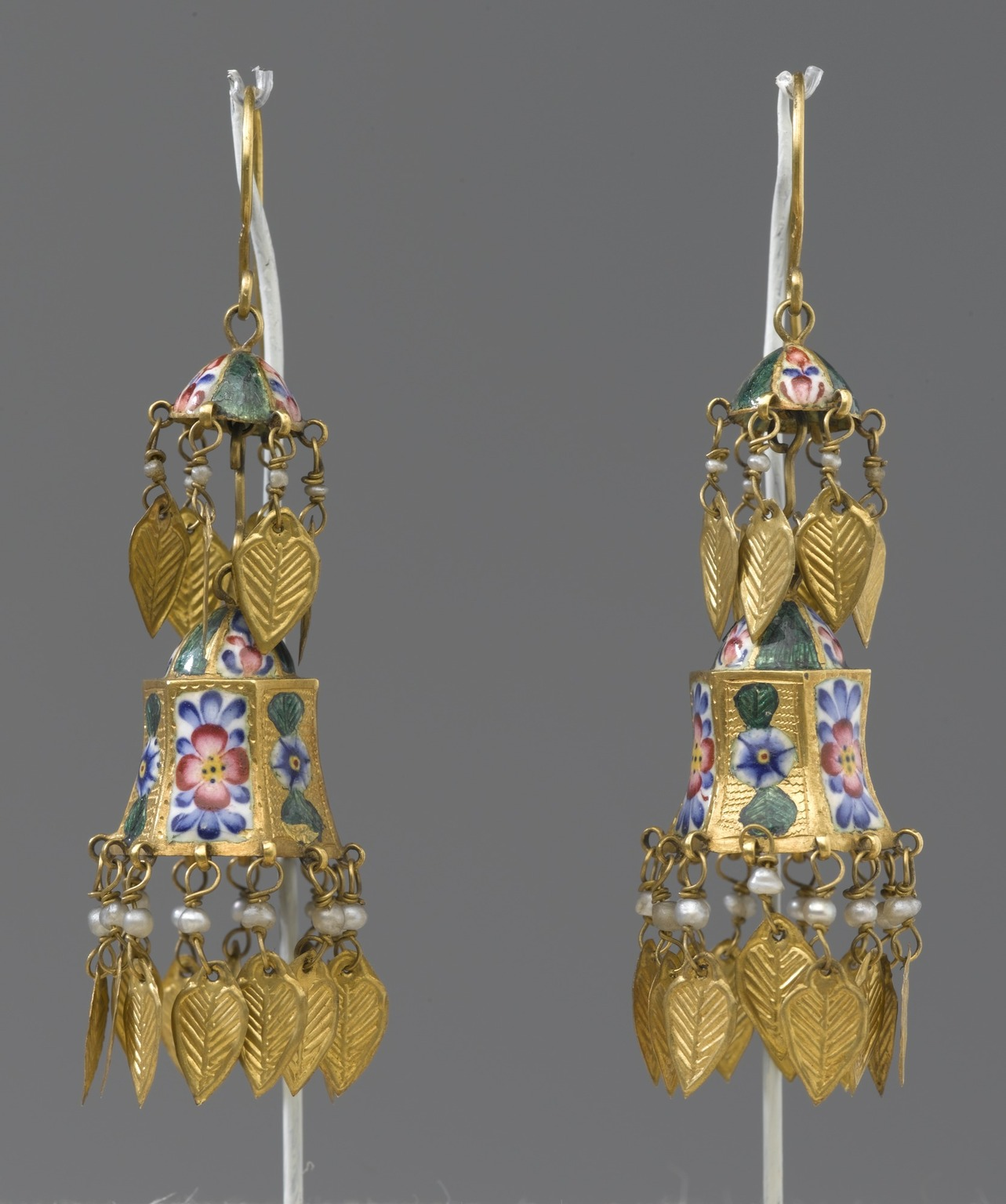 Brooklyn Museum: Two-Tiered Enamel Earrings