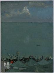 Walter Richard Sickert (British, born Germany 1860-1942). The Height of the Season, 1885. Oil on panel, 12 1/2 x 9 1/8 x 1/8 in. (31.8 x 23.2 x 0.3 cm). Brooklyn Museum, Gift of Ferdinand Gottschalk, 18.37. © artist or artist's estate
