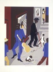 Jacob Lawrence (American, 1917-2000). Harlem Street Scene, 1975. Screenprint on white wove paper, Sheet: 30 7/16 x 22 1/2 in. (77.3 x 57.2 cm). Brooklyn Museum, Gift of Robert Levinson, 1989.32. © artist or artist's estate