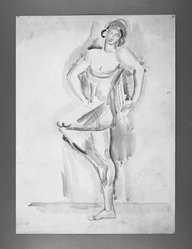William Sommer (American, 1867-1949). Female Acrobat. Watercolor, 15 x 11 in. (38.1 x 27.9 cm). Brooklyn Museum, Gift of William and Bette-Ann Spielman, 1989.4.3. © artist or artist's estate