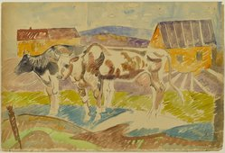 William Sommer (American, 1867-1949). Two Cows in the Farmyard, late 1930s. Recto: watercolor with ink and graphite on medium weight, smooth, wove paper