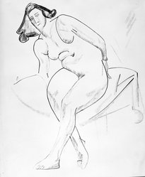 William Sommer (American, 1867-1949). Seated Nude, n.d. Ink, charcoal and colored chalk on paper, sheet: 17 1/8 x 14 1/8 in. (43.5 x 35.9 cm). Brooklyn Museum, Gift of Mr. and Mrs. William Spielman, 1989.8.2. © artist or artist's estate