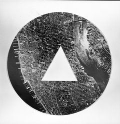 Sol LeWitt (American, 1928-2007). A Circle of Manhattan Without a Triangle, 1977. Photograph, 15 3/4 in. diameter. Brooklyn Museum, Gift of Estelle Schwartz, 1989.84.1. © artist or artist's estate