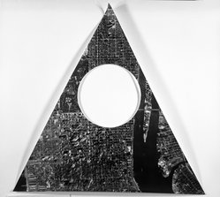 Sol LeWitt (American, 1928-2007). A Triangle of Manhattan Without a Circle, 1977. Cut out from photograph, 15 3/4 x 15 3/4 in. triangle. Brooklyn Museum, Gift of Estelle Schwartz, 1989.84.2. © artist or artist's estate